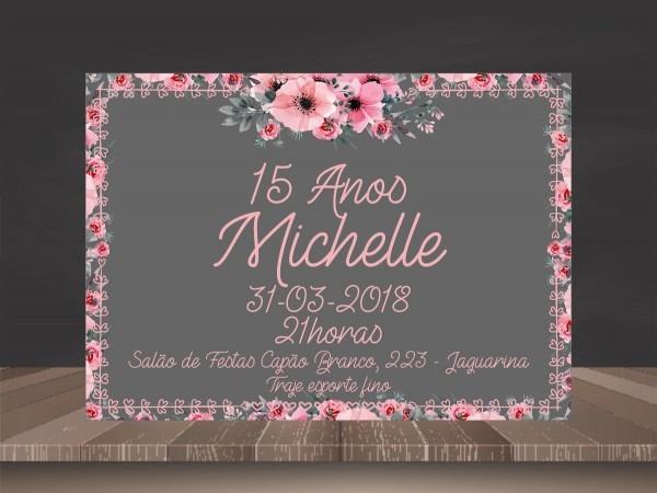 Convite 15 anos floral rosa e preto (arte digital)