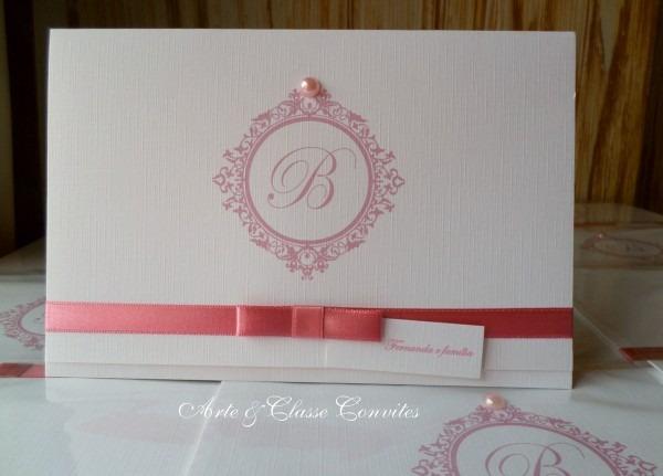 Convite 15 anos rosa e branco no elo7