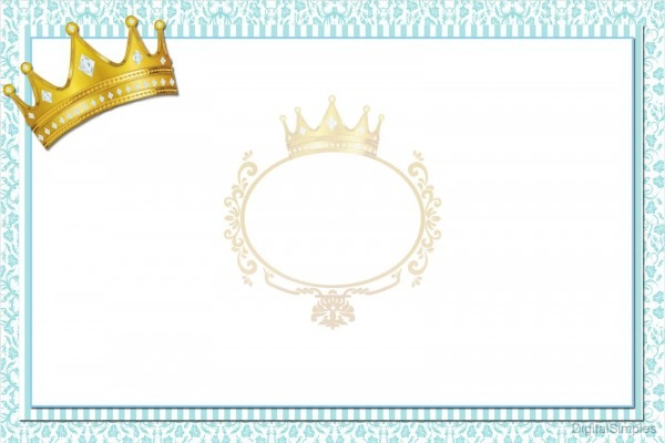 Kit personalizado tema  coroa azul menino  para imprimir