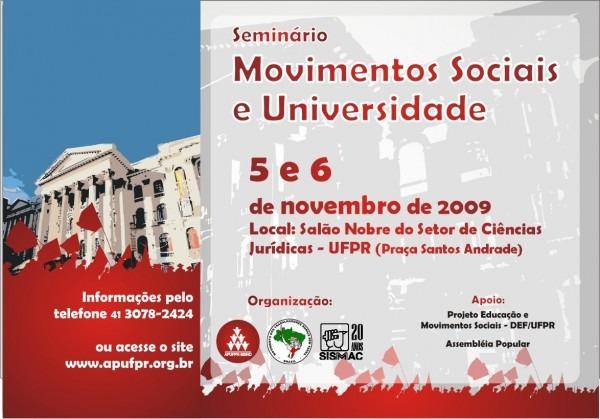 Seminário movimentos sociais e universidade
