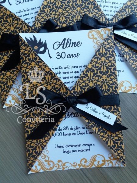 Convite aniversario baile de máscaras no elo7