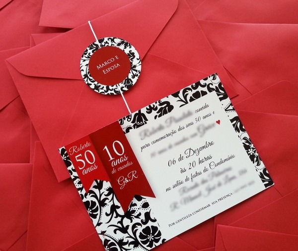 Convite aniversário casamento 10x14 cm no elo7