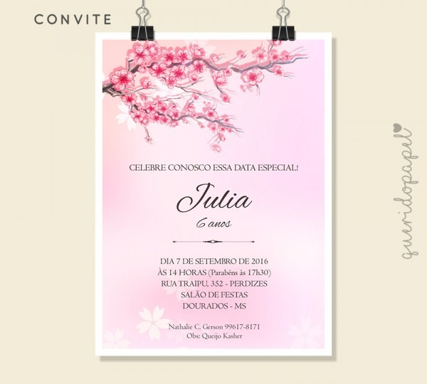 Convite aniversário festa japonesa no elo7