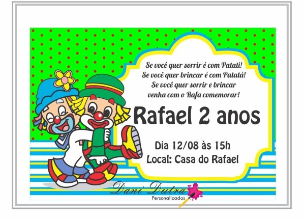 Convite aniversário patati patatá no elo7