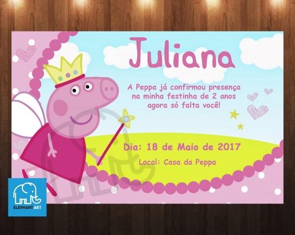 Convite aniversário peppa pig digital no elo7