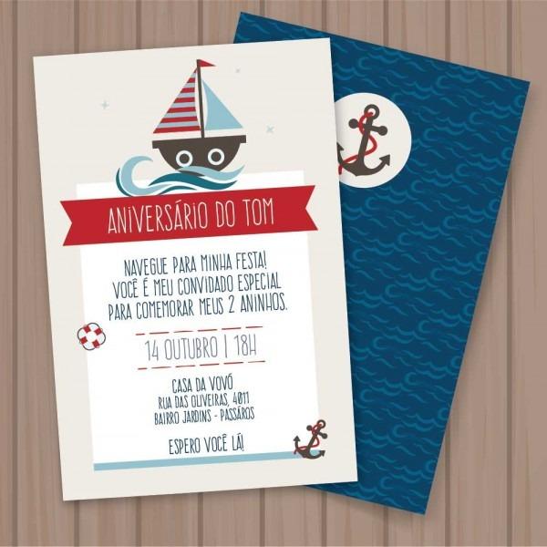 Convite marinheiro (editável) p imprimir no elo7