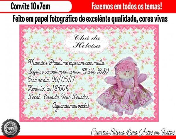 Convite boneca de pano chá de bebê no elo7