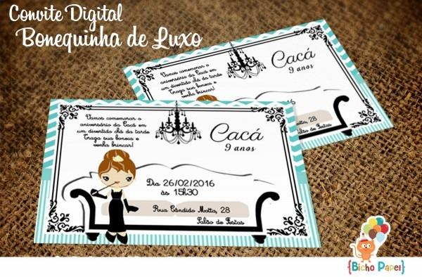Convite bonequinha luxo (arte digital) no elo7