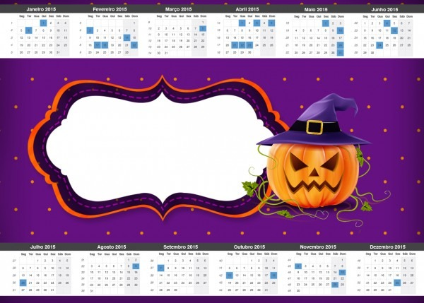 Convite calendário 2015 halloween abóbora