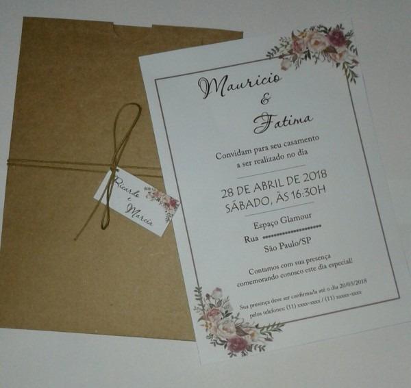 Convite casamento floral + envelope kraft