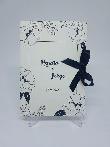 Convite casamento floral preto e branco no elo7