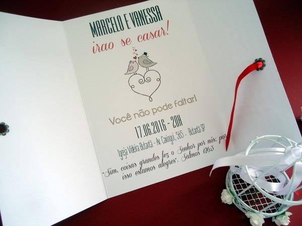 Convite casamento passarinho vermelho no elo7