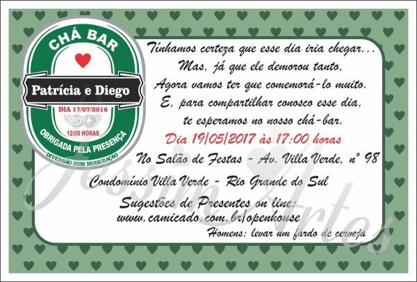 Convite digital chá bar no elo7