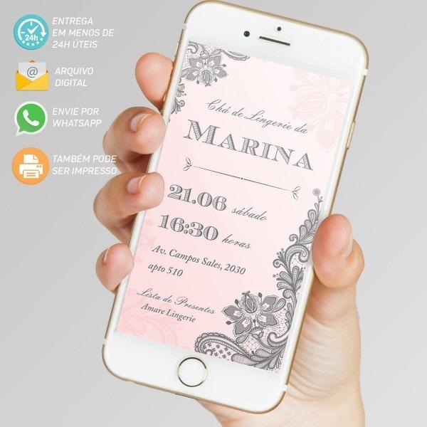 Convite chá de lingerie digital virtual para whatsapp