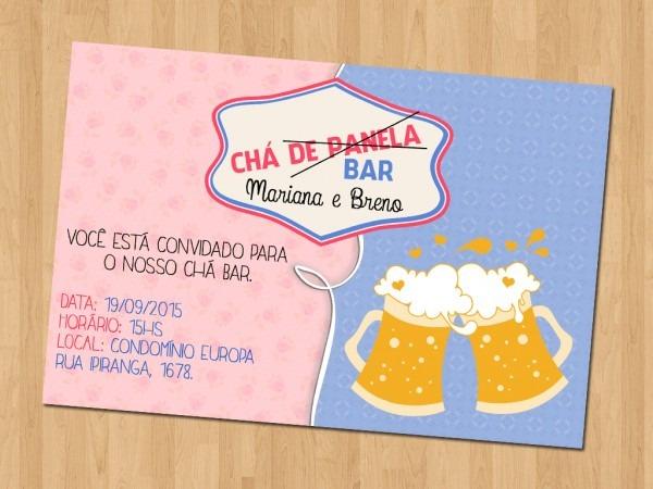 Convite online vermelho chá bar e chá panela