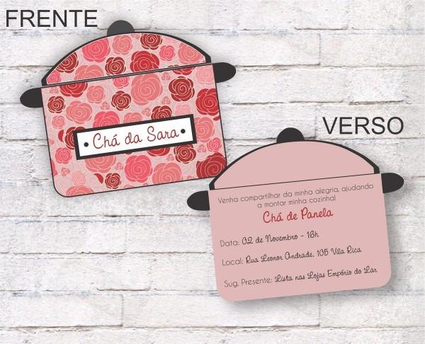 Convite chá floral rosa