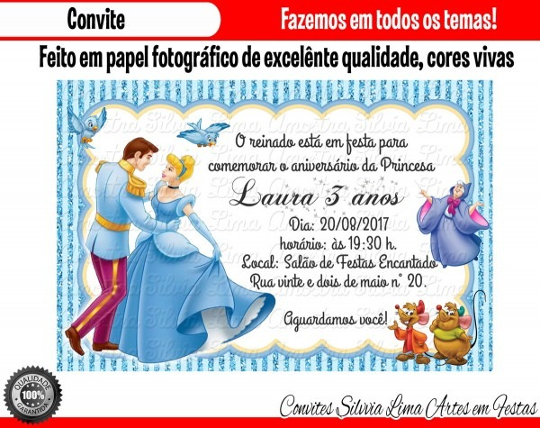 Convite cinderela no elo7