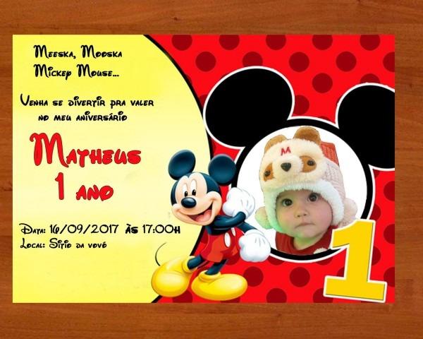 Convite mickey tamanho 10x15 no elo7
