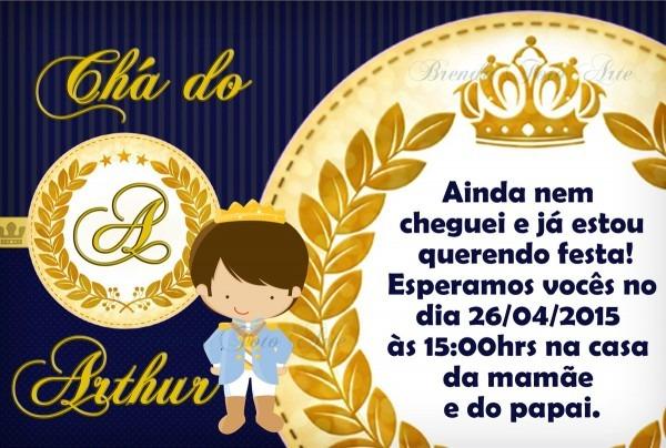 Convite coroa realeza menino no elo7