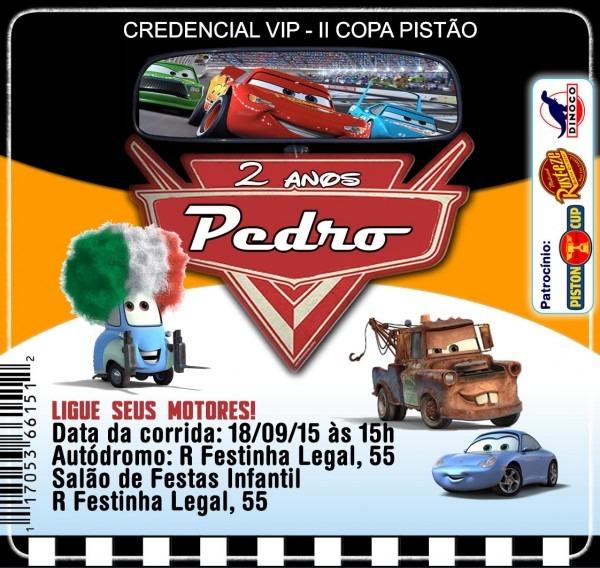 Convite credencial carros digital no elo7