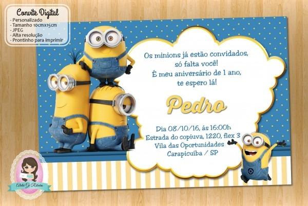 Convite de anivers√°rio dos minions 7 » happy birthday world