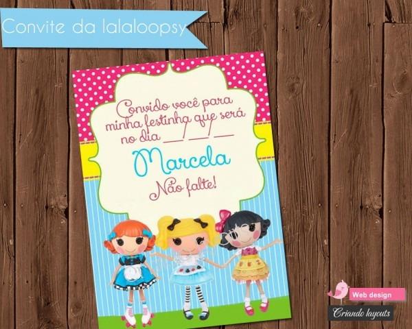 Convite de aniversário lalaloopsy 02 no elo7