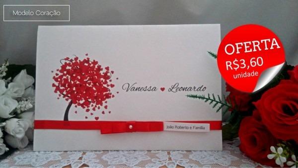 Convite de casamento coração + tags no elo7