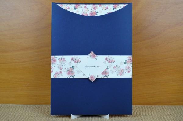 Convite de casamento em envelope meia lua vertical no elo7