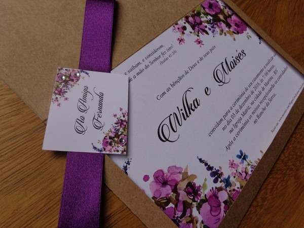 Convite de casamento envelope kraft no elo7