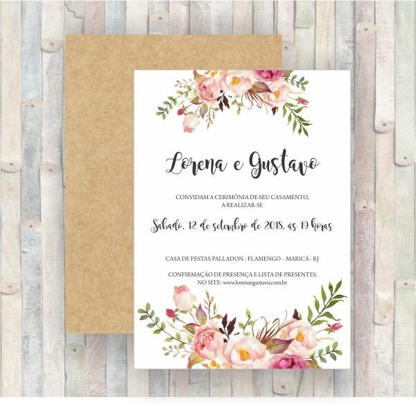 Convite de casamento floral frete grátis  no elo7