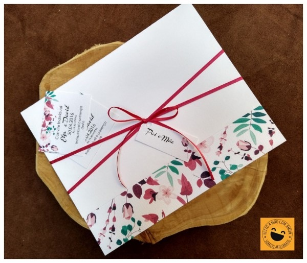 Convite de casamento floral simples elegante e005 (100 uni)