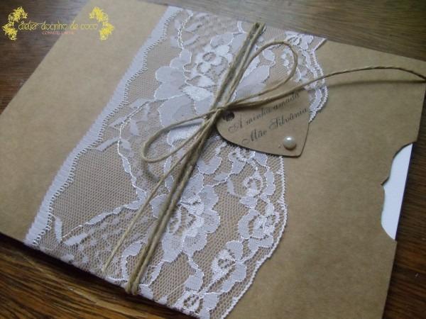 Convite de casamento renda rústico no elo7