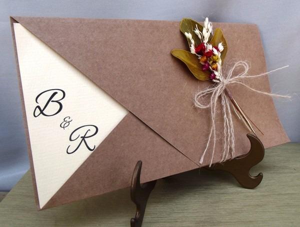 Convite de casamento rústico (30un) frete grátis