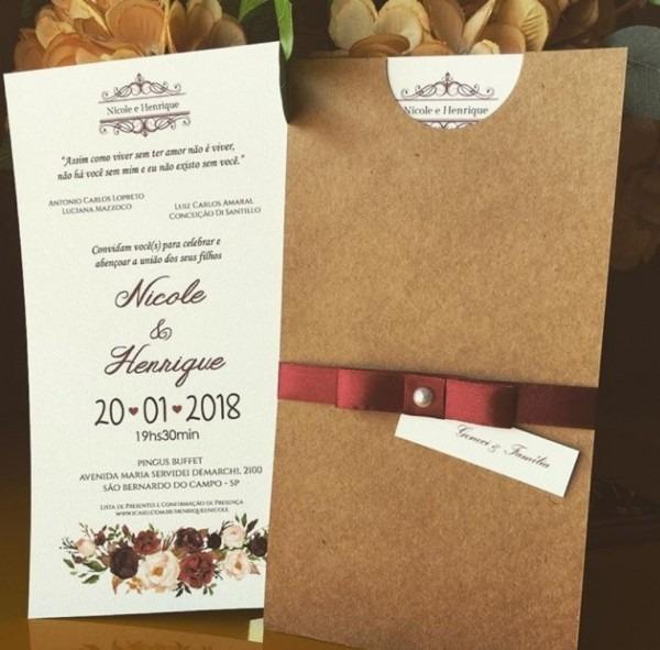 Convite de casamento rústico marsala 50 unidades