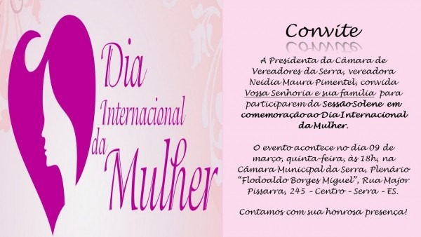 Convite  sessão solene em homenagem ao dia internacional da mulher