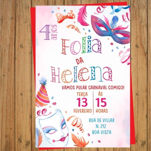 Convite digital aniversÁrio carnaval 2 no elo7