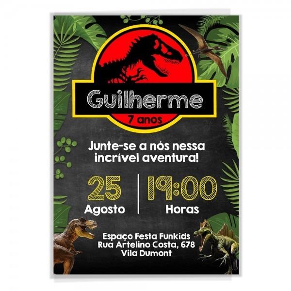 Convite digital aniversário dinossauro jurassic park