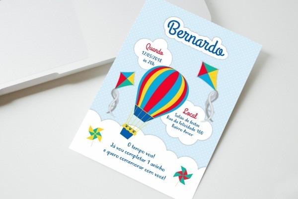Convite digital balão pipa e catavento whatsapp impressão