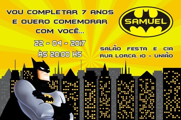 Convite digital batman 02 no elo7