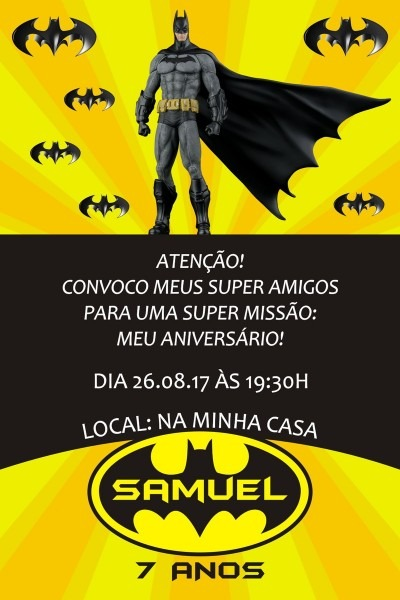 Convite digital batman 05 no elo7