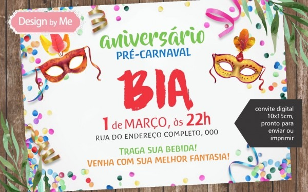 Convite digital carnaval no elo7