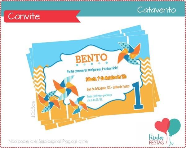 Convite digital catavento no elo7