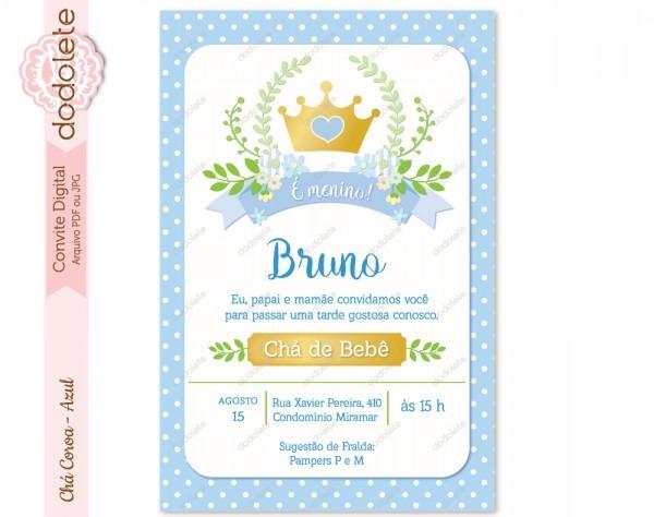Convite virtual chá de fralda de menino com coroa azul