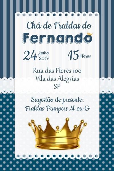 Convite digital chá de fraldas coroa menino