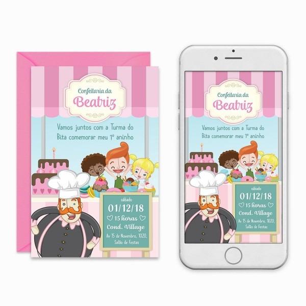 Convite digital confeitaria do bita menina virtual imprimir