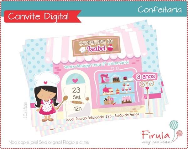 Convite digital confeitaria no elo7