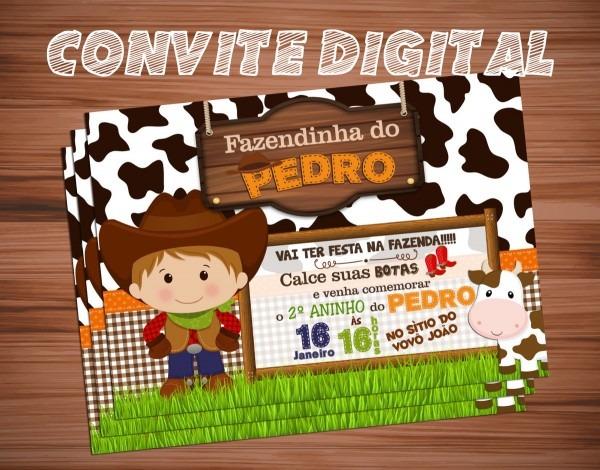 Convite digital fazendinha no elo7