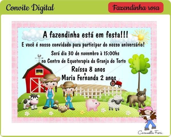 Convite digital fazendinha rosa no elo7
