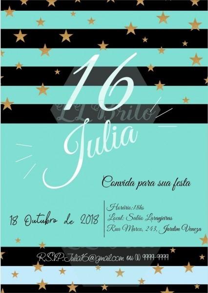 Convite digital festa adulta debutante aniversário tiffany