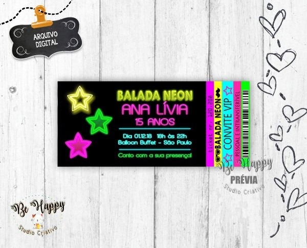 Convite digital ingresso neon no elo7